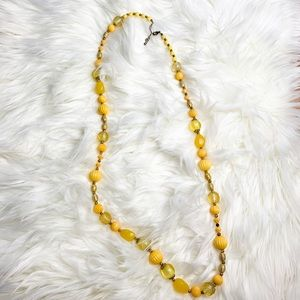 Yellow + Gold Long Beaded Necklace
